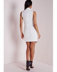 Missguided - Crepe Sleeveless Blazer Dress White - Lyst