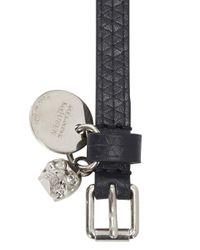 Alexander McQueen - Blue Navy Skull Embellished Leather Wrap Bracelet for Men - Lyst