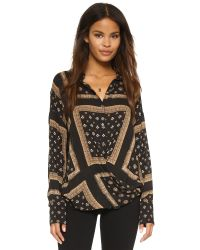 Free People - Black Little Secrets Button Down - Lyst