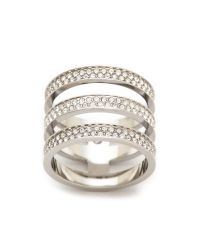 Michael Kors - Metallic Tri Stack Open Pave Bar Ring Silverclear - Lyst