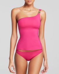 MICHAEL Michael Kors | Pink Watch Band Solids One Shoulder Tankini Top | Lyst