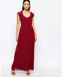 Elise Ryan | Purple Maxi Dress With Lace Sleeves | Lyst