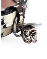 Alexander McQueen - Brown Double Wrap Skull Bracelet - Lyst