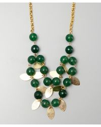 Wendy Mink - Gold and Green Bead Leaf Drop Necklace - Lyst
