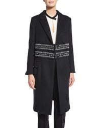 Agnona - Black Paillette-embellished Cashmere Coat - Lyst