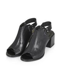 TOPSHOP Black Juicy Mid-Heel Shoes