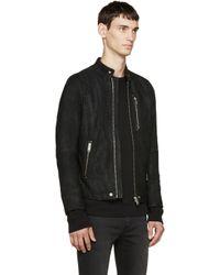 DIESEL - Black Distressed Suede Biker Jacket for Men - Lyst