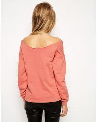 ASOS | Blue The Off Shoulder Sweatshirt In Cotton | Lyst