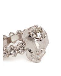 Alexander McQueen Metallic Crystal Skull Ring