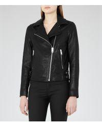 Reiss Black Caden Leather Biker Jacket