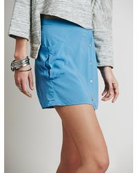 Free People | Blue Bowery Buttondown Mini | Lyst