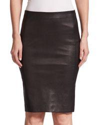 Vince - Black Leather Pencil Skirt - Lyst