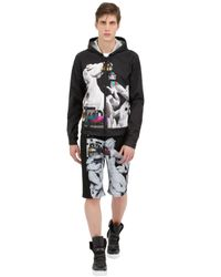 Frankie Morello Black Printed Cotton Gabardine Shorts for men