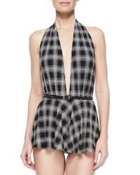 Michael Kors | Black Sedona Plaid Skirted One-piece Swimsuit | Lyst