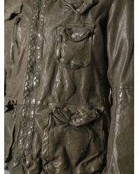 Neil Barrett - Green Distressed Leather Jacket for Men - Lyst
