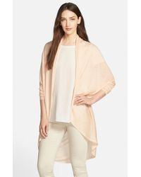 Eileen Fisher | Natural Tencel & Merino Open Front Oval Cardigan | Lyst