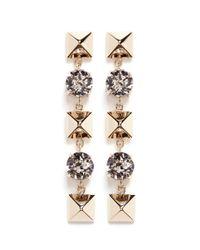 Valentino - Metallic Crystal Rockstud Drop Earrings - Lyst