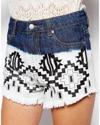 MINKPINK Multicolor Printed Denim Cut Off Shorts