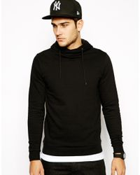 ASOS - Black Hoodie with Crossover Neck for Men - Lyst