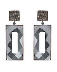 Adornia - Black Hematite And Champagne Diamond Pollock Earrings - Lyst