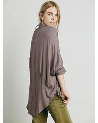 Free People | Purple Womens Dropped Seam Buttondown Shirt | Lyst