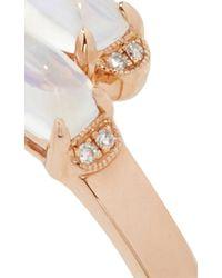Dana Rebecca Isla Rio Rose Gold Blue Moonstone And Diamond Ring
