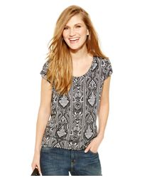 Michael Kors | Black Michael Petite Damask-stripe Cap-sleeve Tee | Lyst