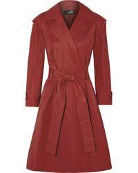 Love Moschino Purple Cotton-Blend Twill Trench Coat