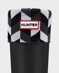 HUNTER Gray Geometric Dazzle Boot Socks for men
