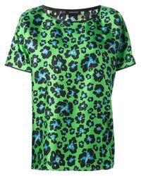DSquared² Green Leopard Print Tshirt