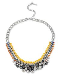 Steve Madden | Metallic Silver-Tone Woven Safety Pin And Shaky Bead Frontal Necklace | Lyst