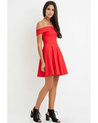 Forever 21 - Red Off-the-shoulder Fit & Flare Dress - Lyst