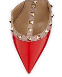 Valentino - Orange Rockstud Leather Mid-heel Pump - Lyst