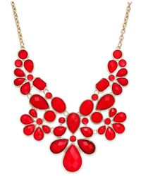 INC International Concepts | Gold-tone Red Stone Bib Necklace | Lyst