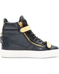 Giuseppe Zanotti | Blue Navy Leather Maylon High-top Sneakers | Lyst