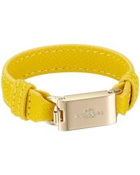 COACH - Metallic Leather Horse And Carriage Id Bracelet - Lyst
