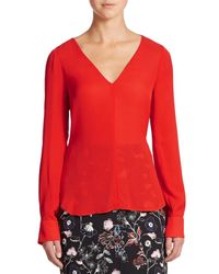 A.L.C. - Red Cleary Silk Cutout-back Top - Lyst