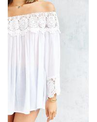 Kimchi Blue White Crochet Wide-sleeve Blouse