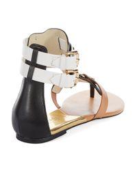 MICHAEL Michael Kors | Black Nadine Leather Thong Sandals | Lyst
