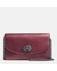 COACH | Purple Clutch Chain Wallet In Metallic Pebble Leather | Lyst