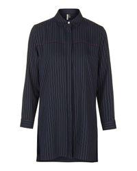 TOPSHOP - Blue Oversized Pinstripe Shirt - Lyst