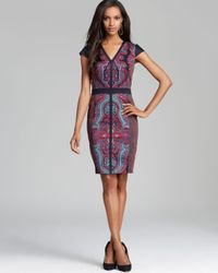 Adrianna Papell | Multicolor Cap Sleeve Print Block Dress | Lyst