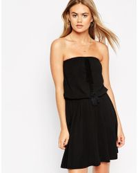 ASOS | Black Bandeau Skater Dress With Tassel | Lyst