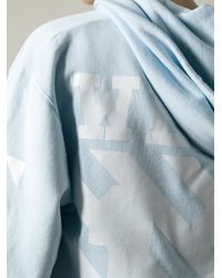 Off-White c/o Virgil Abloh Blue Striped Sleeves Hoodie