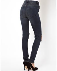 ASOS Gray Ridley High Waist Ultra Skinny Jean In Warm Charcoal Blue With Busted Knees