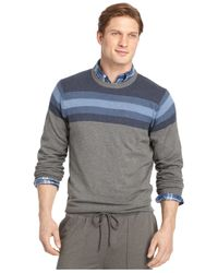Izod | Gray Big And Tall Varsity-stripe Sweater for Men | Lyst