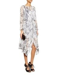 Zimmermann - Gray Seer Floral-Print Silk Dress - Lyst