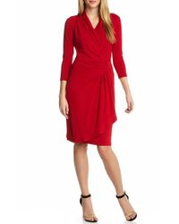 Karen Kane | Red Cascade Faux-Wrap Jersey Dress | Lyst