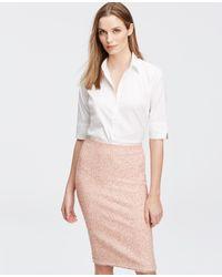 Ann Taylor - White Tall Short Sleeve Perfect Shirt - Lyst