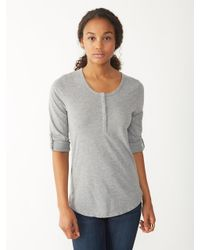 Alternative Apparel | Gray Rolled Sleeve Henley Shirt | Lyst